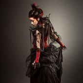 image of gothic  - Fashion Gothic Style Model Girl Portrait. studio shot ** Note: Soft Focus at 100%, best at smaller sizes - JPG