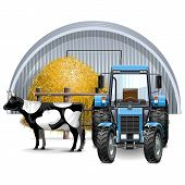 stock photo of haystack  - Farm Concept with tractor - JPG