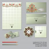 pic of letterhead  - Vector corporate identity templates with floral symmetrical elements isolated on gray background - JPG