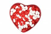 picture of jelly beans  - isolated valentines jelly bean in heart bowl - JPG