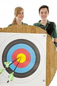 image of longbow  - Young girl and boy standing behind the bull - JPG