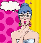 stock photo of bubbles  - Pop Art illustration of girl with the speech bubble - JPG