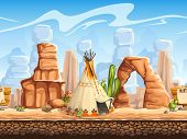 picture of wigwams  - vector image of Wild West scenery including a wigwam - JPG