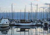 stock photo of marina  - boats in marina on sunset in Athens - JPG