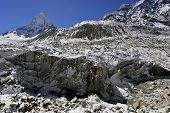 image of crevasse  - Gomukh Gaumukh source of the Ganges Ganga river - JPG