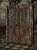 image of steampunk  - steampunk artefact with metal walls in a dark room - JPG