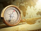 foto of longitude  - Vintage compass on the old world map - JPG