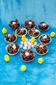 picture of baby easter  - Collection of mini chocolate Easter eggs cornflake cakes and baby chicks - JPG