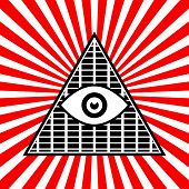 pic of all seeing eye  - Eps 10 Vector Illustration of Symbolic Pyramid Graphics with The All - JPG