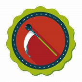 picture of scythe  - Halloween Scythe Costume Flat Icon With Long Shadow - JPG
