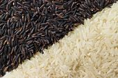 stock photo of rice  - Food background with two rows of rice varieties : berry rice white (jasmine) rice. ** Note: Soft Focus at 100%, best at smaller sizes - JPG