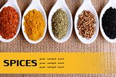 stock photo of kindness  - Different kinds of spices in ceramics spoons - JPG