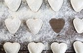picture of sprinkling  - Raw ravioli in the shape of hearts - JPG