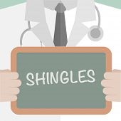 stock photo of shingles  - minimalist illustration of a doctor holding a blackboard with Shingles text - JPG