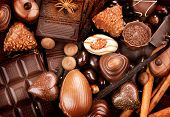 image of egg whites  - Chocolates background - JPG