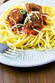 pic of cilantro  - Homemade Italian meatballs garnished with cilantro and parmesan cheese over spaghetti for dinner - JPG