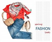picture of woman red blouse  - Casual fashion look for spring with jeans and bright pullover - JPG