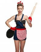 image of maids  - Shrewish maid wearing apron with wooden rolling pin and black frying pan  - JPG