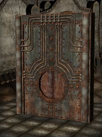 pic of steampunk  - steampunk artefact with metal walls in a dark room - JPG