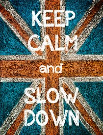 pic of union  - Keep Calm and Slow Down. United Kingdom (British Union jack) flag vintage hand drawing with chalk on blackboard humor concept image - JPG