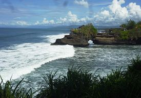 stock photo of tanah  - Indonesian temple in sea - JPG
