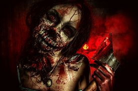 picture of gothic girl  - Scary bloody zombie girl with an ax - JPG