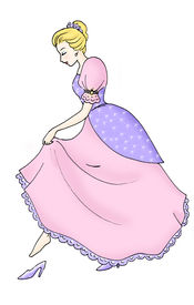 stock photo of stepmother  - beautiful cinderella wearing her magical glass slipper - JPG