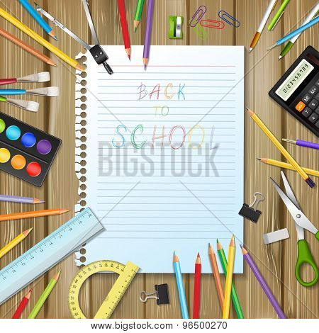Back To School Background With Supplies Tools And Sheet Of Noteboo