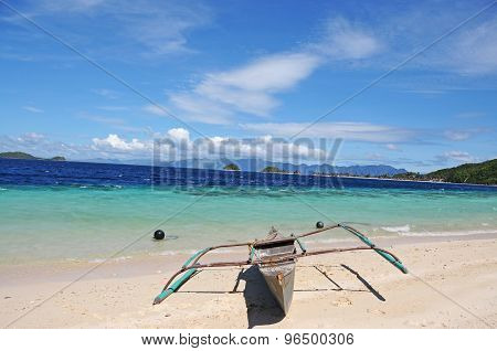 Banka on beach, Coron, The Philippines