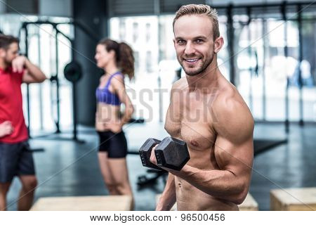 Portrait of a muscular man lifting a dumbbell