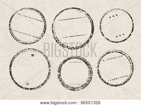 Set Of Six Grunge Vector Templates For Rubber Stamps On Old Paper Background