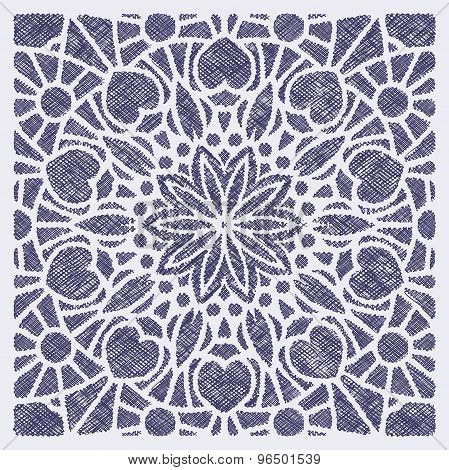 Lace Decorative Element - Mandala In Touch Stroke Style Like Embroidery, Hand Drawn Ink Doodle Decor