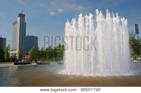 Katowice, Poland - July 19, 2015: The Fountain In Front Of The N