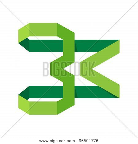Number 3 Logo Icon Vector Design, Eco Green