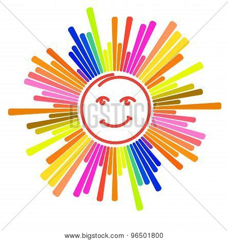 Colorful Sun Design With Smiley Face