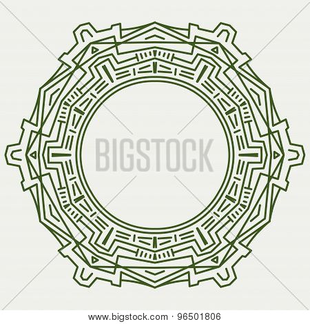 Abstract Round Vector Techno Background In Mono Line Style.