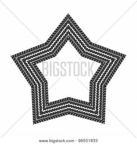 Traces Of Tyre In Shape Of Star. Vector Illustration.
