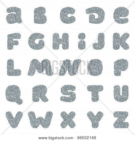 Line Fingerprint English Alphabet Letters Set.