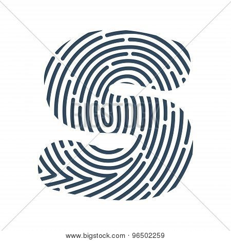 S Letter Line Logo. Vector Fingerprint Design.
