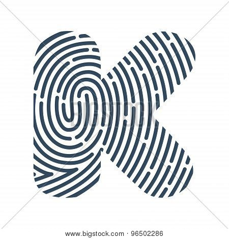 K Letter Line Logo. Vector Fingerprint Design.