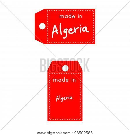 Red Price Tag Or Label With White Word Made In Algeria Isolated On White Background