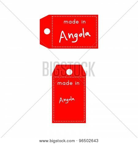 Red Price Tag Or Label With White Word Made In Angola Isolated On White Background
