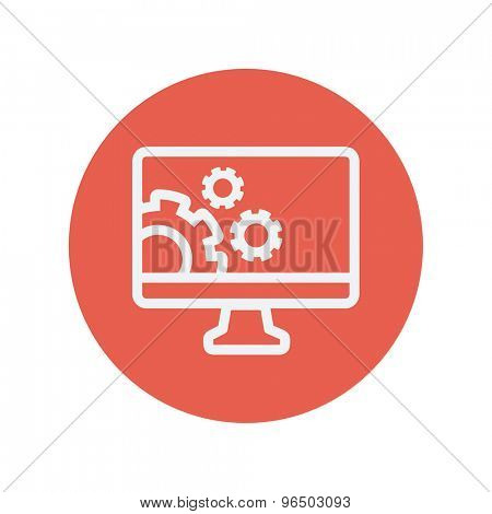 Computer and gear thin line icon for web and mobile minimalistic flat design. Vector white icon inside the red circle.