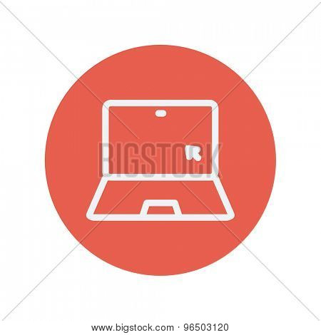 Laptop and cursor thin line icon for web and mobile minimalistic flat design. Vector white icon inside the red circle.