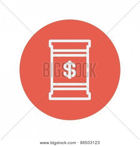 Barrel with dollar symbol thin line icon for web and mobile minimalistic flat design. Vector white icon inside the red circle.