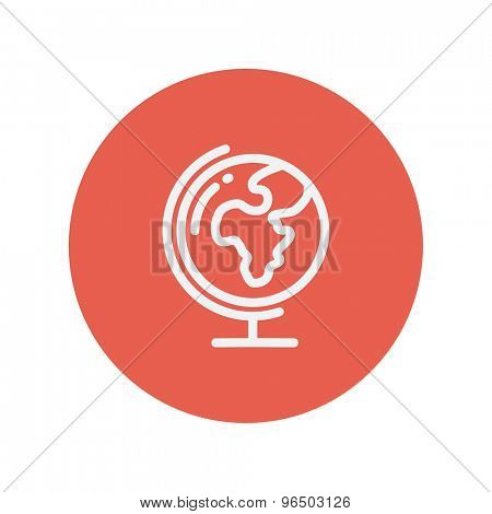 World globe with stand thin line icon for web and mobile minimalistic flat design. Vector white icon inside the red circle.