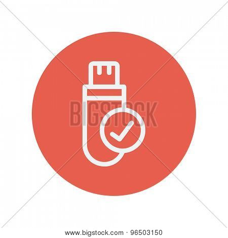 USB flash drive thin line icon for web and mobile minimalistic flat design. Vector white icon inside the red circle.