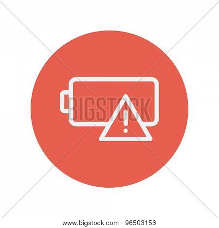 Empty battery thin line icon for web and mobile minimalistic flat design. Vector white icon inside the red circle.