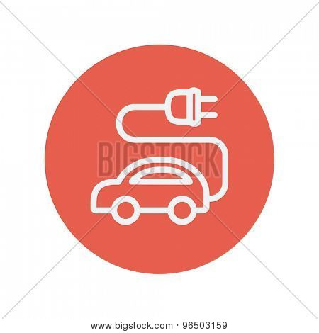 Electric car thin line icon for web and mobile minimalistic flat design. Vector white icon inside the red circle.