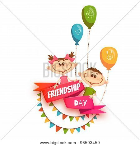 Red ribbon with Friendship Day title, children, balloons and flags. Vector illustration